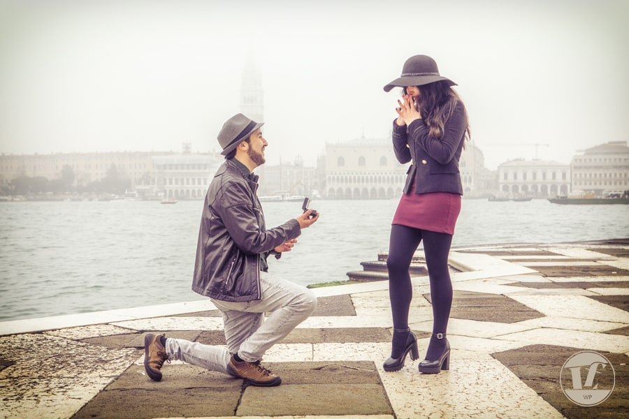 marriage proposal at San Giorgo, Venice