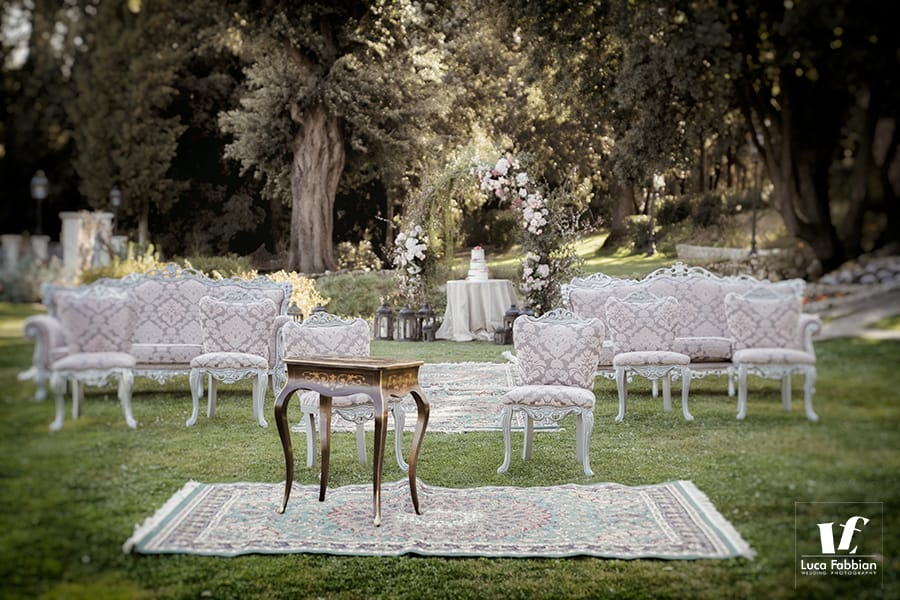 Italian wedding photographer - Umbria outdoor ceremony setup